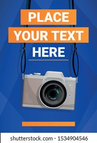 Blue poster with compact camera and place for your text