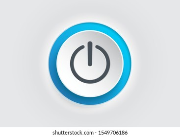 Blue power button icon on white background. illustrator vector.