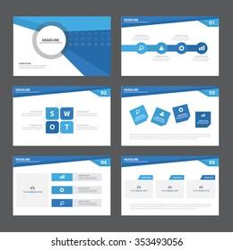 Blue presentation template Infographic elements flat design set for brochure flyer leaflet marketing advertising