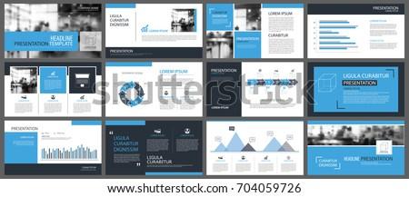 blue presentation templates infographics elements background の
