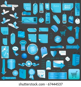 Blue Price Tag Set. Vector Illustration