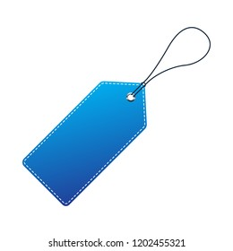 Blue Price Tag. Vector illustration. Realistic discount tag, isolated
