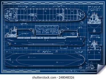 Blue Print Tanker Cargo Ship. Blueprint Boat Isometric Plan Outline Plan 3D Vector Isometric Blueprint Illustration Tanker Blue Print Cargo Boat Set