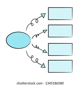 blue process diagram and hierarchy chart for presentation template, hand drawn theme