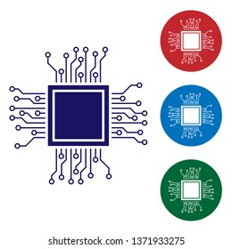 Blue Processor icon isolated on white background. CPU, central processing unit, microchip, microcircuit, computer processor, chip. Set color icon in circle buttons. Vector Illustration