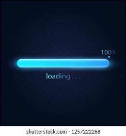 Blue progress loading bar 100% vector illustration, technology concept