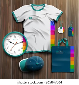 Blue promotional souvenirs design for corporate identity with color square elements. Stationery set