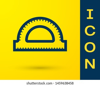 Blue Protractor grid for measuring degrees icon isolated on yellow background. Tilt angle meter. Measuring tool. Geometric symbol.  Vector Illustration