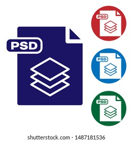 Blue PSD file document. Download psd button icon isolated on white background. PSD file symbol. Set color icons in circle buttons. Vector Illustration