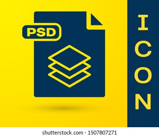 Blue PSD file document. Download psd button icon isolated on yellow background. PSD file symbol.  Vector Illustration