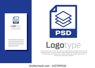 Blue PSD file document. Download psd button icon isolated on white background. PSD file symbol. Logo design template element. Vector Illustration