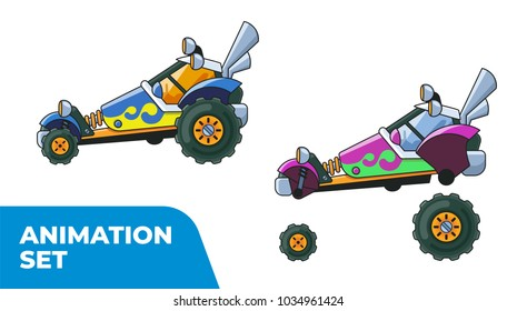 Blue and Purple Buggy. Prepared for animation.