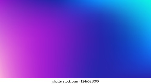 Blue Purple Dreamy Vibrant Gradient Vector Background. Sunrise, Sunset, Color Overlay, Sky, Water Neon Design Element. Trendy Unfocussed Luxury Holograph Texture. Minimal Fluid Color Digital Gradient