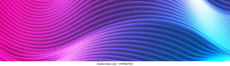 Blue purple glowing neon waves abstract banner. Futuristic luminous vector background
