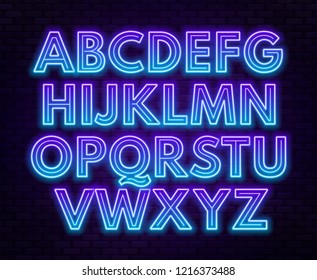 Blue purple gradient neon alphabet on a dark background . Bright font for decoration.Capital letter.
