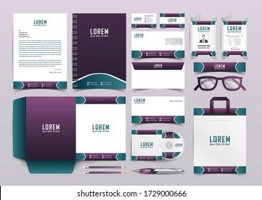 Blue and purple line pattern stationery identity template set. Business stationery mock-up. Branding design. Letterhead, presentation folder, compliment slip, notebook, id card, business card.