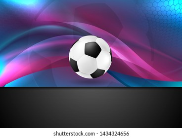 Blue purple neon wavy football abstract background with soccer ball. Vector design