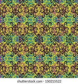 blue and purple pattern on a yellow background