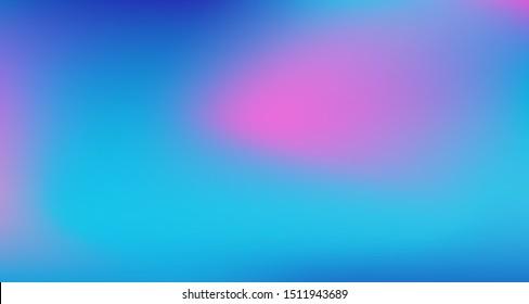 Blue Purple Pink Digital Gradient Background. Fluorescent Noble Vector Color Overlay. Elegant Colorful Vibrant Defocused Horizontal Banner. Dreamy Neon Bright Trendy Wallpaper. 80s Glam Gradient Paper