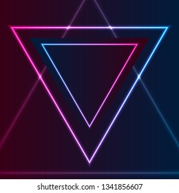 Blue and purple retro neon laser triangle abstract background. Glowing vector design