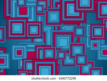 Blue and purple squares abstract tech geometry background. Vector design