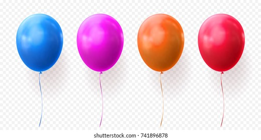 Blue, purple or violet, orange and red balloon vector illustration on transparent background. Glossy realistic baloon for Birthday party.