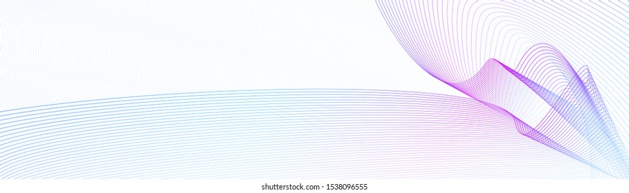 Blue, purple watermark for website banner, certificate, cheque, ticket, voucher, gift card. Abstract art line design. Tech pattern on squiggly curves. Vector guilloche. White background. EPS10 image
