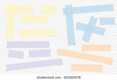 Blue, purple, yellow adhesive, sticky, masking, duct tape, paper pieces for text on gray squared background.