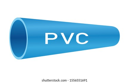 Blue PVC pipe with PVC text on white background. Vector illustration logo design for plumbing and piping company.