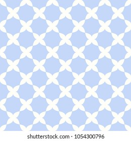 Blue quatrefoil lattice pattern. Seamless vector background.