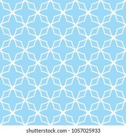 Blue quatrefoil lattice pattern. Seamless vector background.