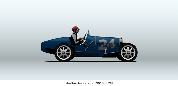 Blue race car in vector at number twenty four and racer in driver's seat. Side view with perspective.