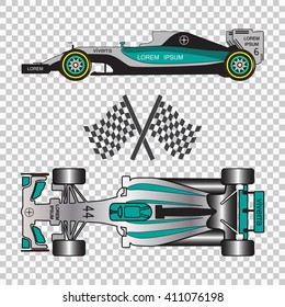 Blue racing car isolated on checkered background. Formula one, Top view and side view.  Vector illustration