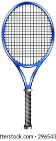 Blue racquet for tennis or squash illustration