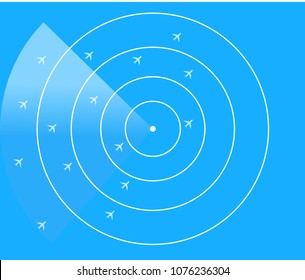 Blue radar screen with planes, Air Traffic Control Radar Monitor Show Flight airline routes - Illustrator  EPS10