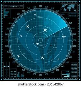 Blue radar screen with planes. Vector EPS10.