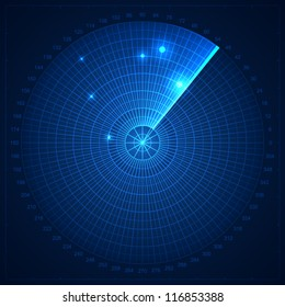 Blue radar screen. Vector illustration for your design.