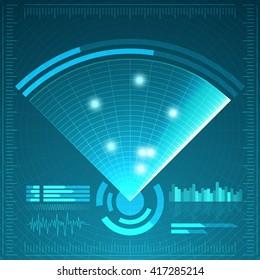Blue radar screen. Vector illustration for your design. Technology background. Futuristic user interface. Radar display with scanning. HUD. Vector EPS10.