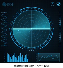 Blue radar screen.Screen with target. HUD Interface design. Screen with a world map. Vector illustration.