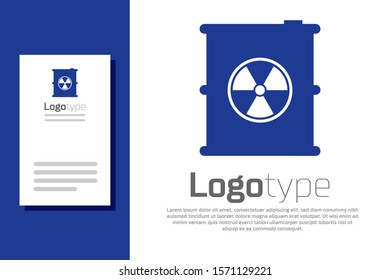 Blue Radioactive waste in barrel icon isolated on white background. Toxic refuse keg. Radioactive garbage emissions, environmental pollution. Logo design template element. Vector Illustration