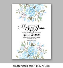 Blue ranunculus peony greenery bouquet bride wedding invitation template design. Vector floral template background for party celebration bridal baby shower anniversary congratulation greeting card