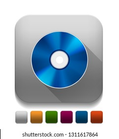 blue ray disc icon With long shadow over app button