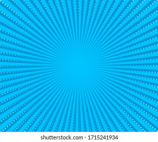 Blue rays halftone gradient pattern. Vector illustration in retro comic style.