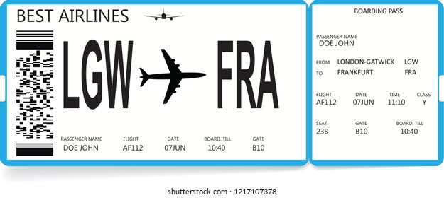 Blue realistic boarding pass ticket with information about passenger. Travel concept.