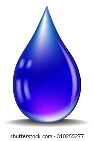 Blue realistic vector water drop isolated on white background.