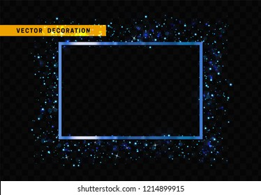 Blue rectangular frame isolated on transparent background. Glitter border shining particles, of light effects