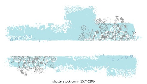 A blue rectangular grunge pattern with floral ornaments and space for custom text