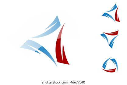 blue and red 3d vector computer icon/symbol