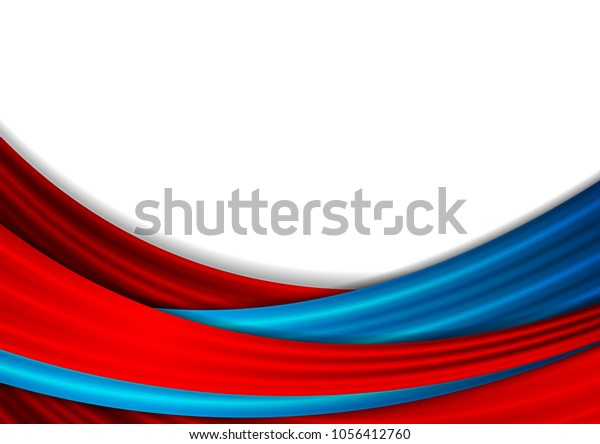Blue Red Abstract Smooth Waves Background Stock Vector