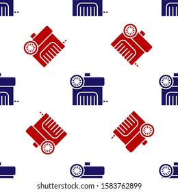 Blue and red Air compressor icon isolated seamless pattern on white background.  Vector Illustration